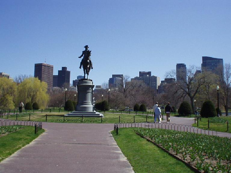 Coming from the Back Bay of Boston to the Public Garden, one can see the statue of Paul Revere who made his famous midnight ride over to Samuel Adams.