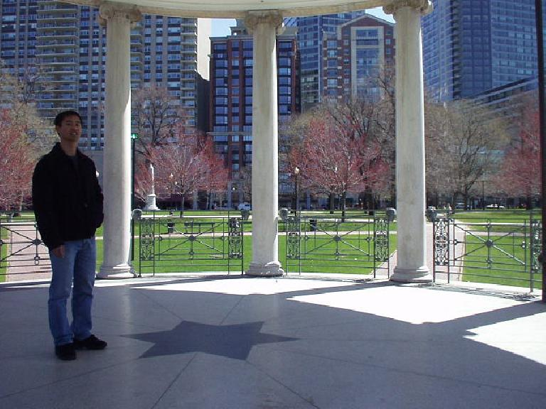 Felix Wong inside a little forum-like structure at Boston Common.