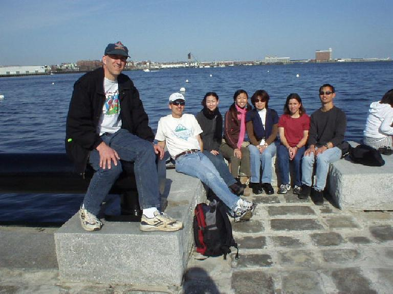 Our entire group just chillin' by the Boston Harbor near the Aquarium: Russ, Steve, Ann, Joycelyn, Gail, Sharon, and Felix.
