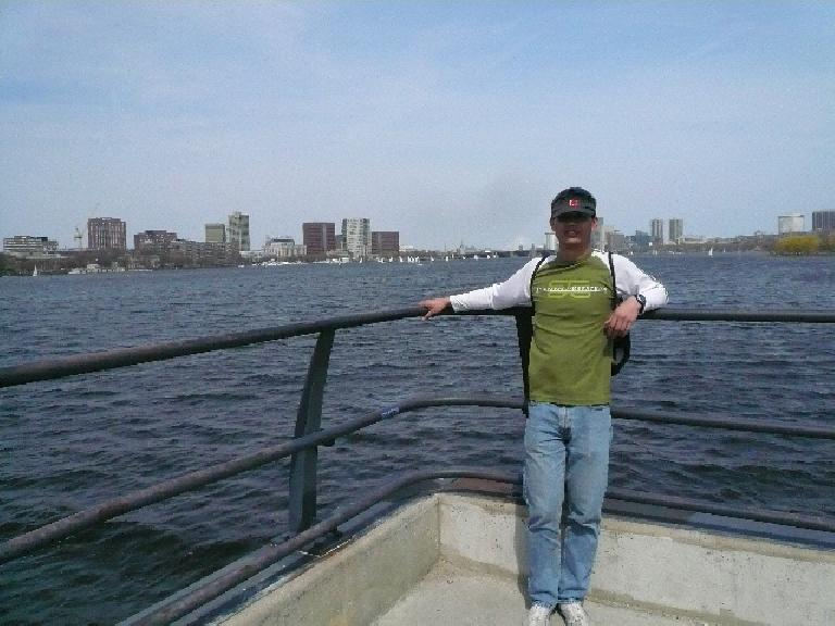 Felix Wong above the St. Charles River.