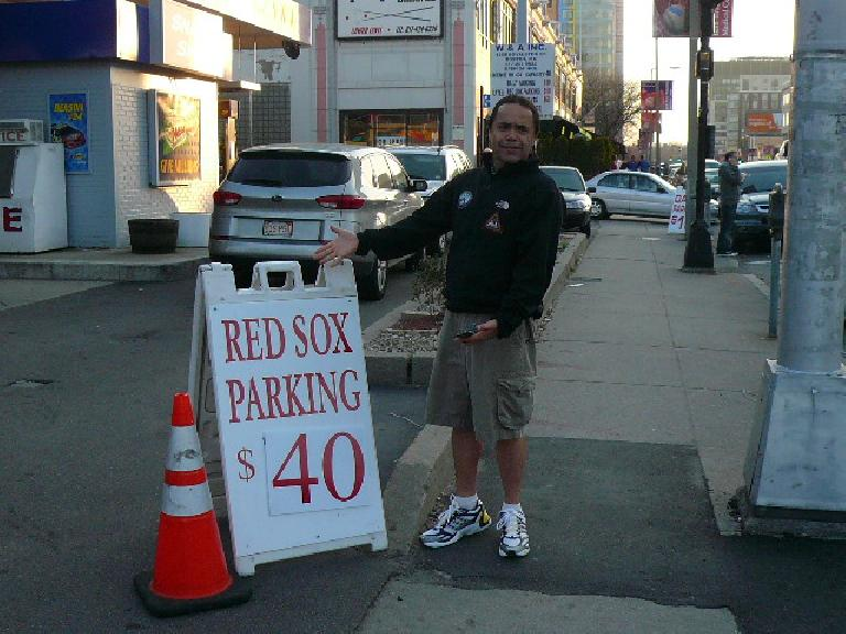 Red Sox Parking: $40 (at the gas station across from Fenway Park) for the night!