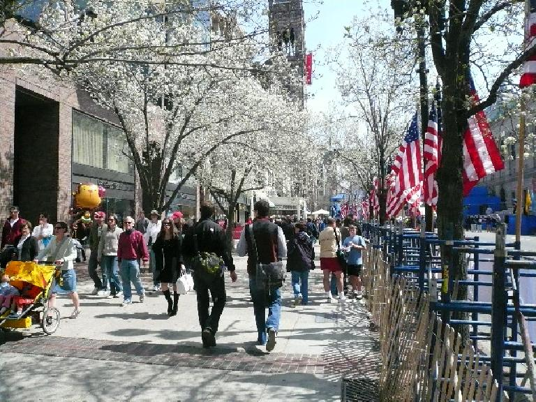 Walking along Boylston St. after the women's Olympic Marathon Trials.