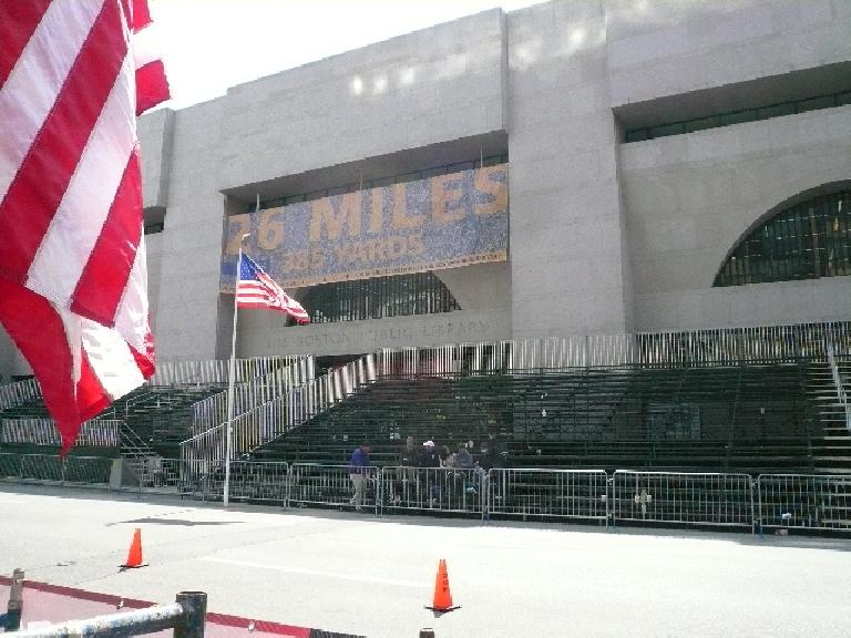 The bleachers in front of the public library, just steps away from the finish line.