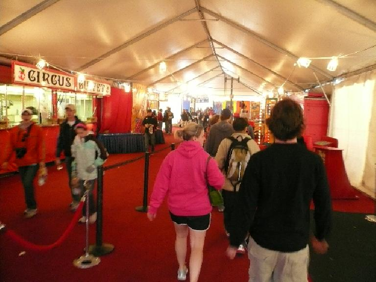 Going through a circus tent with Tammy & Adam at the pasta feed the night before the race.