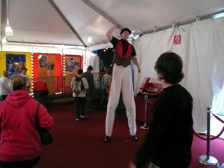 A tall guy at the circus.