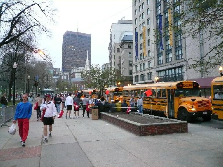 On the morning of the Boston Marathon, we hopped on these school buses at Boston Common to go to the start line in Hopkington.