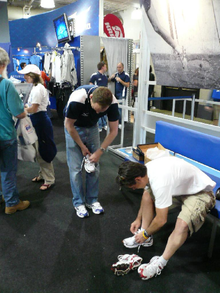 At the Boston Marathon expo, Eddie tried on some Mizuno shoes...
