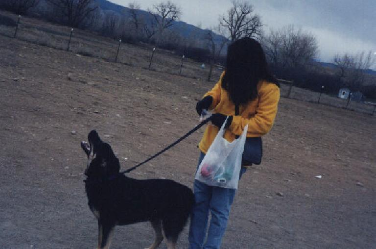 Adrienne with Gage and her bag of treats.