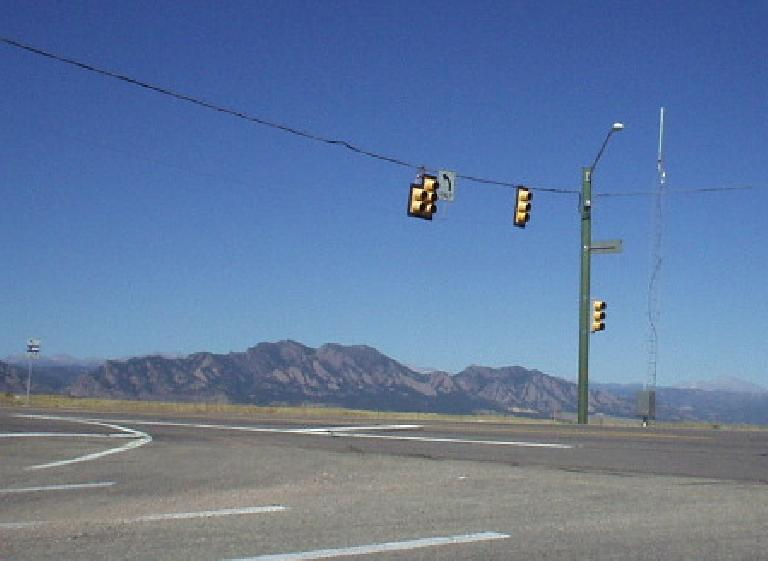 """The Flatirons are an icon of Boulder, CO.  The approach to Boulder from Golden is quite """"golden""""."""