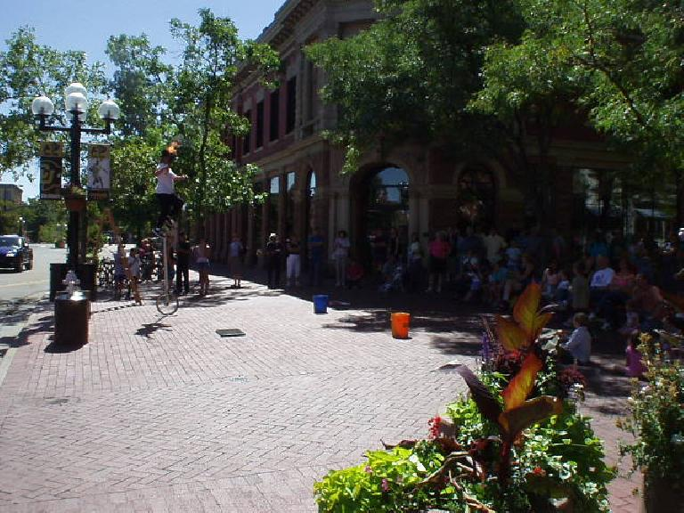 Dudes like this one on a unicycle juggling flames always attract a big crowd and adds to the character of Pearl Street Mall.