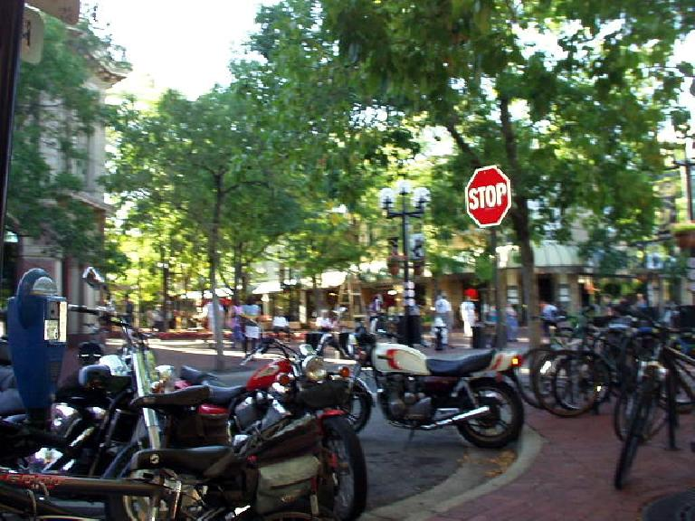 Two wheeled vehicles -- esp. the bicycle -- are popular and viable means of transportation here in Boulder.  The city is superbly designed for bicycle commuting.