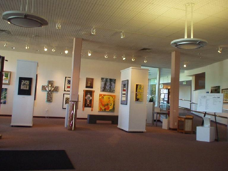 One of the entrances to the Boulder Library is an art gallery!  Also in this library is a cafe where one can sip and read.  And of course in this progressive place there is free wi-fi access.