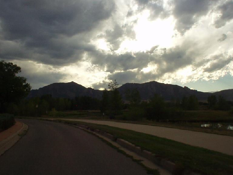 Another view of the Flatirons.  Brief thunderstorms sometimes (or often) pass through in summer afternoons to cool things down.  The weather can change very quickly.