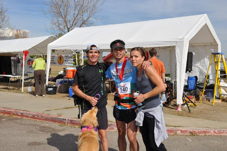 Eddie, Abbey and Leah with me at the finish. I absolutely would not have finished without them. Thanks you guys, you are awesome.(Photo: Eddie M.)