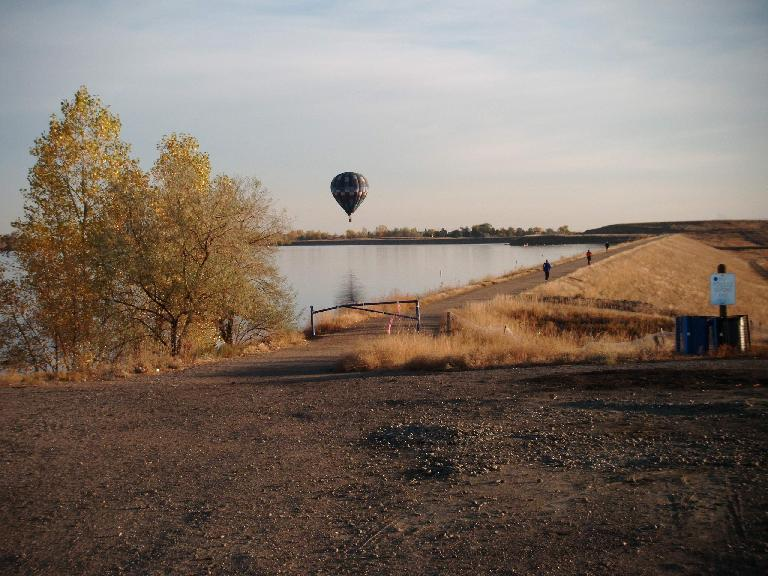 On Sunday morning, there were about a dozen hot air balloons floating over the Boulder Reservoir.  I was so focused that I only noticed them a few times, however.  Photo: Eddie Metro.