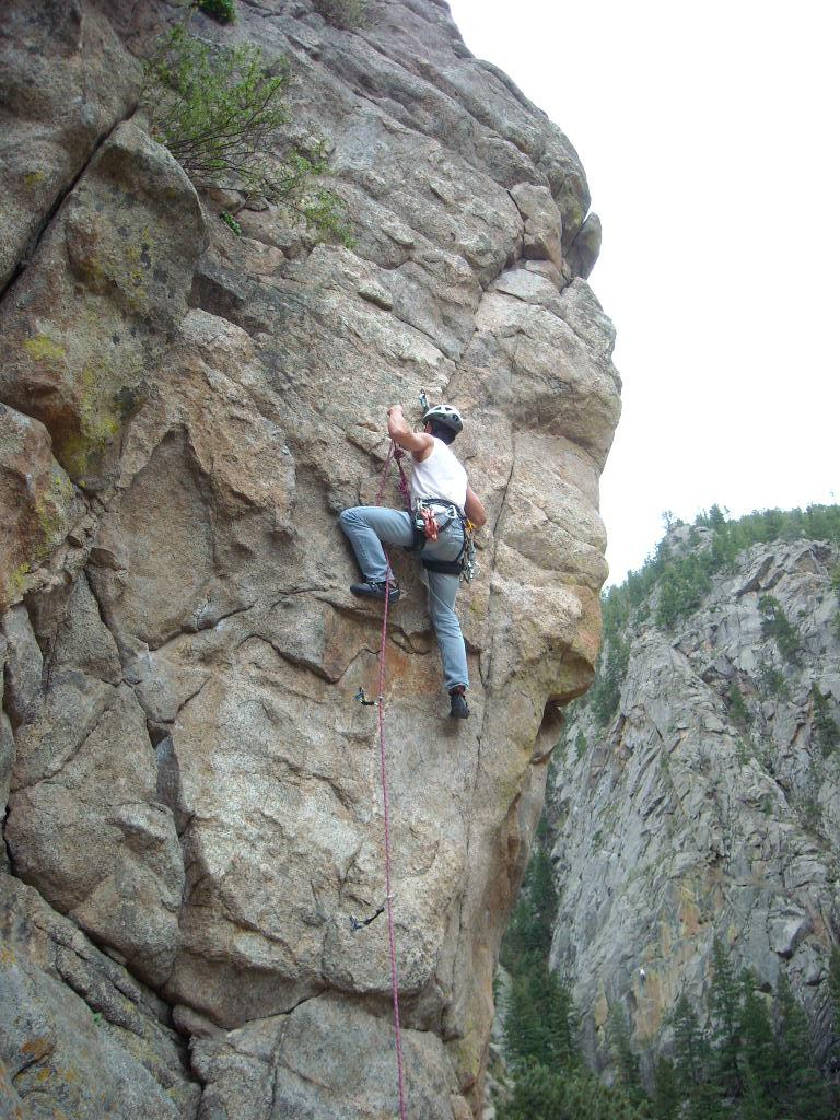 Clipping in the rope at the crux of Qs (5.9+), which was a bit sketchy!