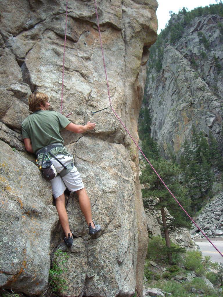 Derek climbing Qs (5.9+) on toprope.
