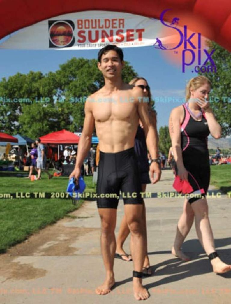Felix Wong before the swim of the Boulder Sunset Triathlon. Photo: SkiPix.com. (August 30, 2014)