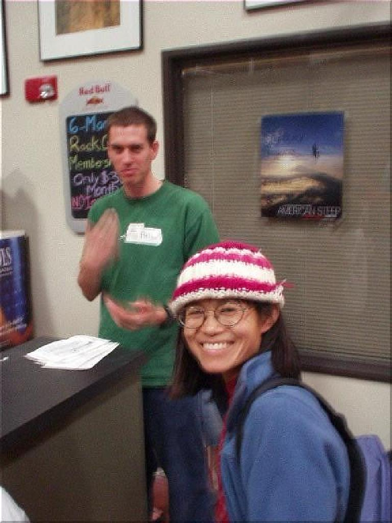 Stacey came in about three hours late but still managed to get in five boulder problems.  Here she is with Phil behind her.