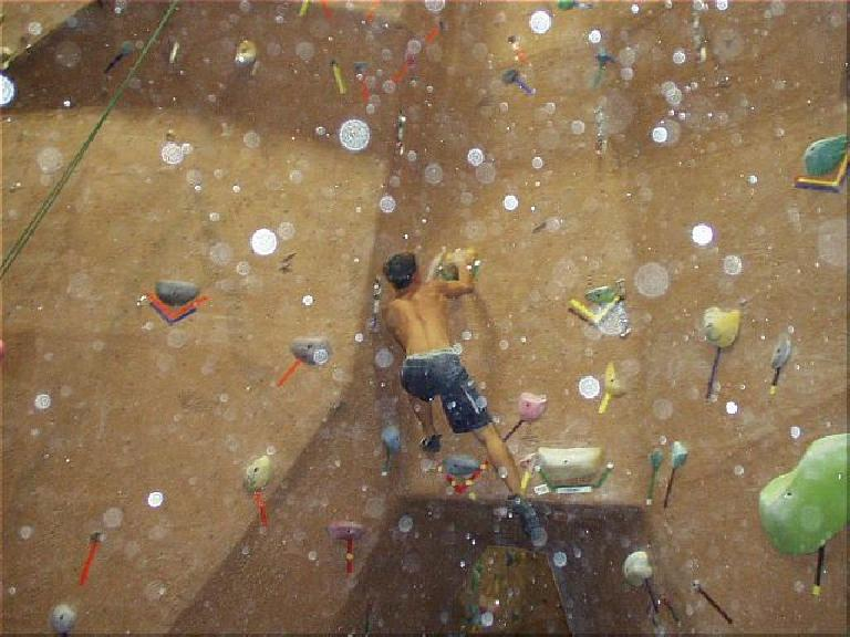 Jasper was awesome on this climb, which required a huge dyno just to START and then a funky balancing move to finish.  This was worth ~1400 points!