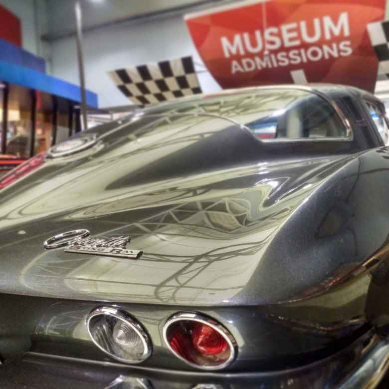 A silver 1960s Corvette Stingray in the National Corvette Museum in Bowling Green, Kentucky.