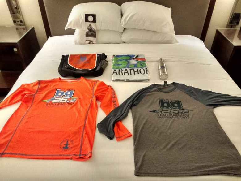 There was lots of schwag given at the Bowling Green Marathon, including a messenger bag, blanket, two shirts, and a stainless steel water bottle.