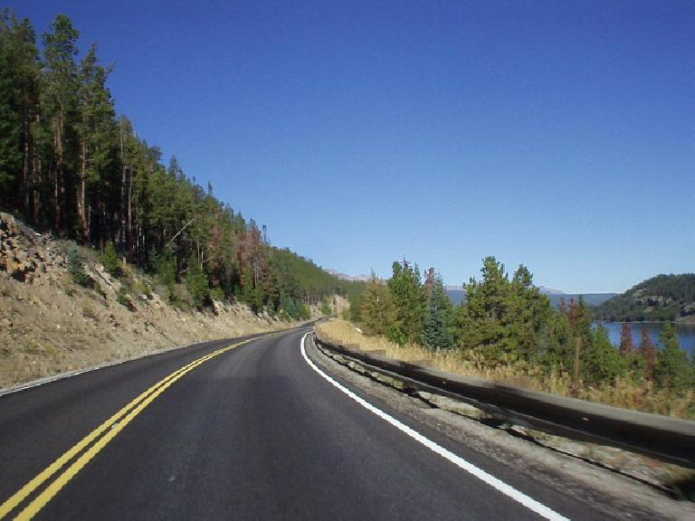 Driving from Dillon to Breckenridge in the early morning with what I think is the Dillon Lake on the right.