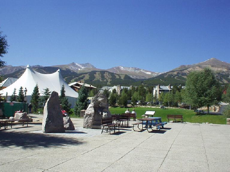 Breckenridge's Riverfront Park is downtown with a great view of the mountains and a river running through it.