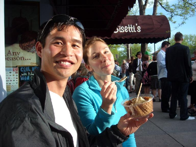 Lisa and I sharing a cup of ice cream after the three breweries. The flavor was cake batter; it was delish!