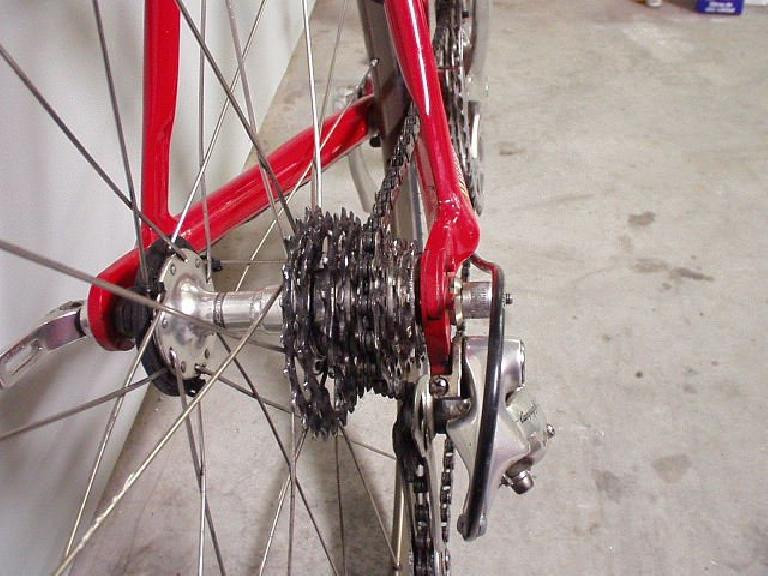 A real shocker: in Feb. 2003 on a training ride, the 2 largest cogs on my 9-speed Shimano Ultegra cassette had SHEARED OFF!  I replaced it with an SRAM cassette after that... (February 1, 2003)