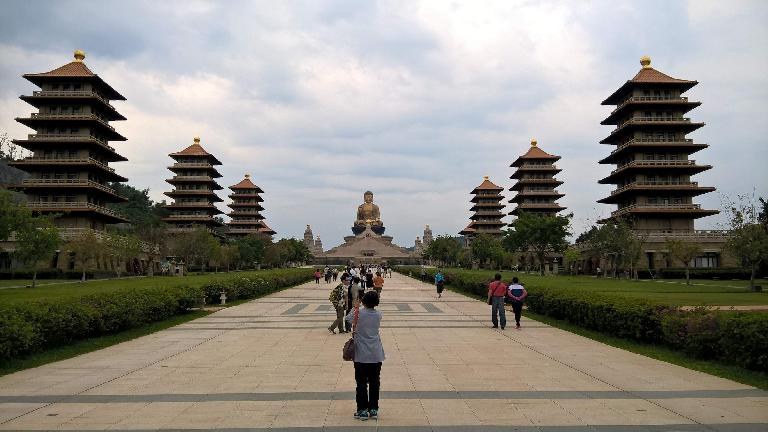 The giant Buddha and temples at the Buddha Memorial Center in Taiwan.