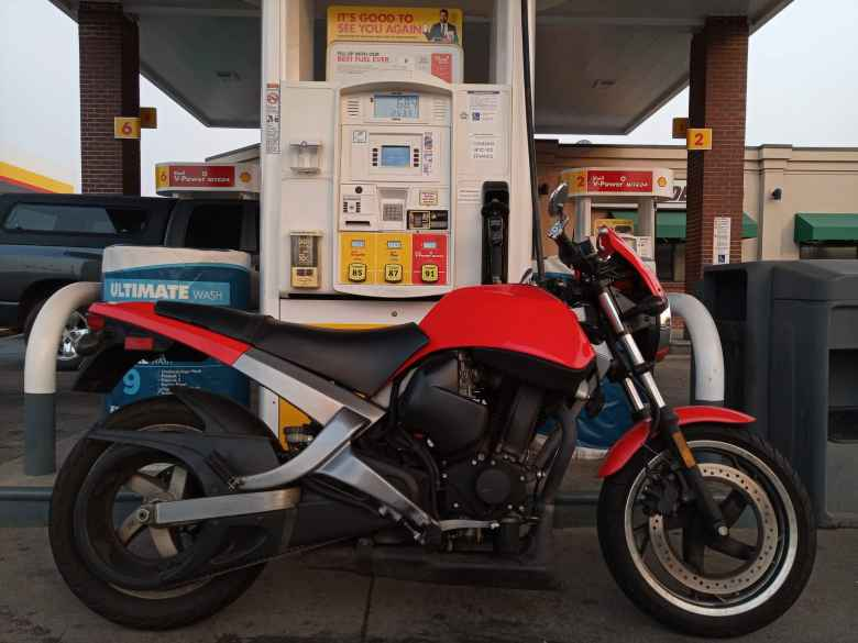 Refilling the Buell with $6.84 or 2.53 gallons' worth of gas.