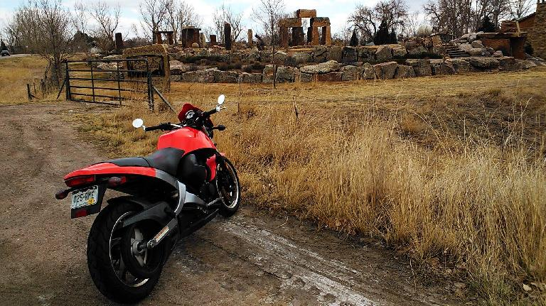"""Back on the road after installing the replacement clutch cable.  First stop: Fort Collins' """"Stonehenge."""""""