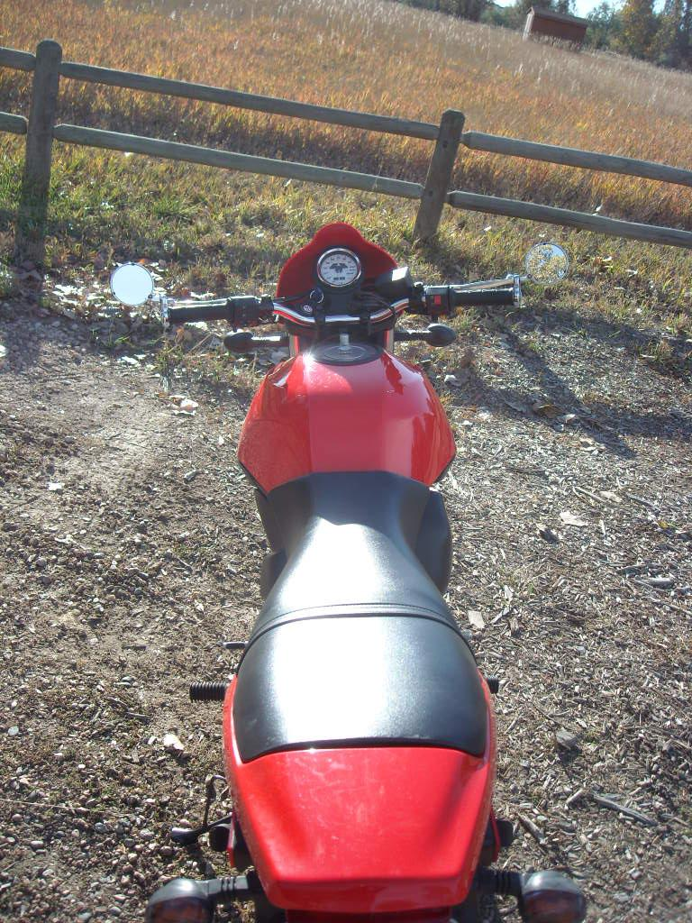 Rear view of the Buell Blast with Bikemaster Superbike handlebars and bar-end mirrors. (October 18, 2009)