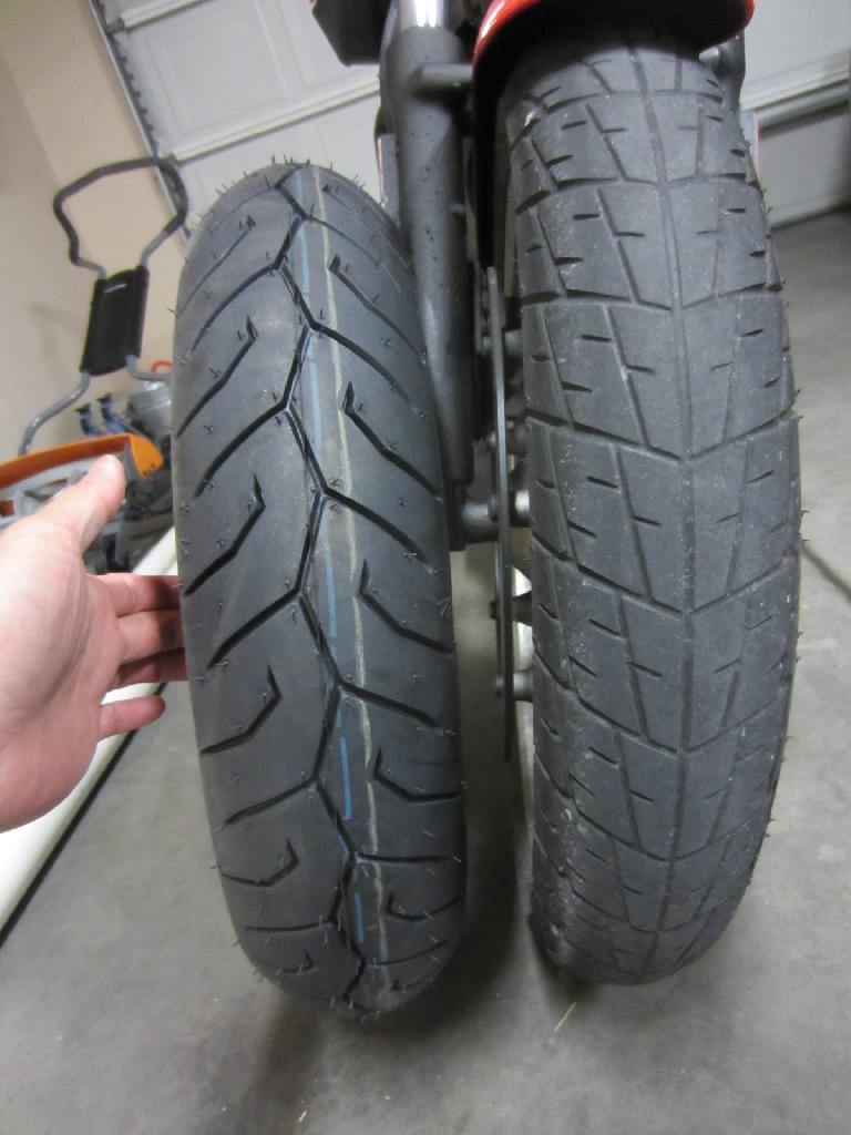"The Pirelli Diablo Scooter 110/70-16 front tire is about .5"" wider than the stock Dunlop K330 100/80-16. (May 12, 2012)"