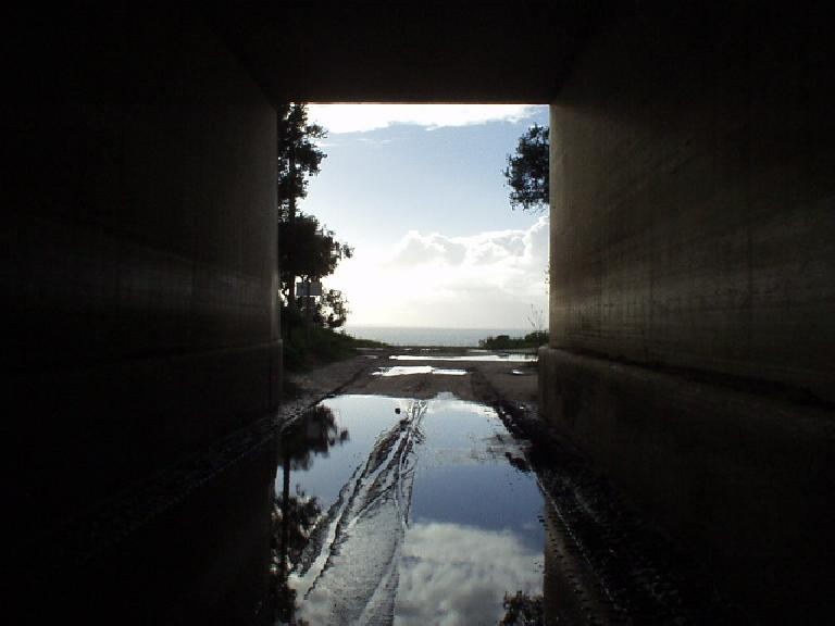 [Mile 123, 4:15 p.m.] The light at the end of the tunnel: at least it was dry out here!