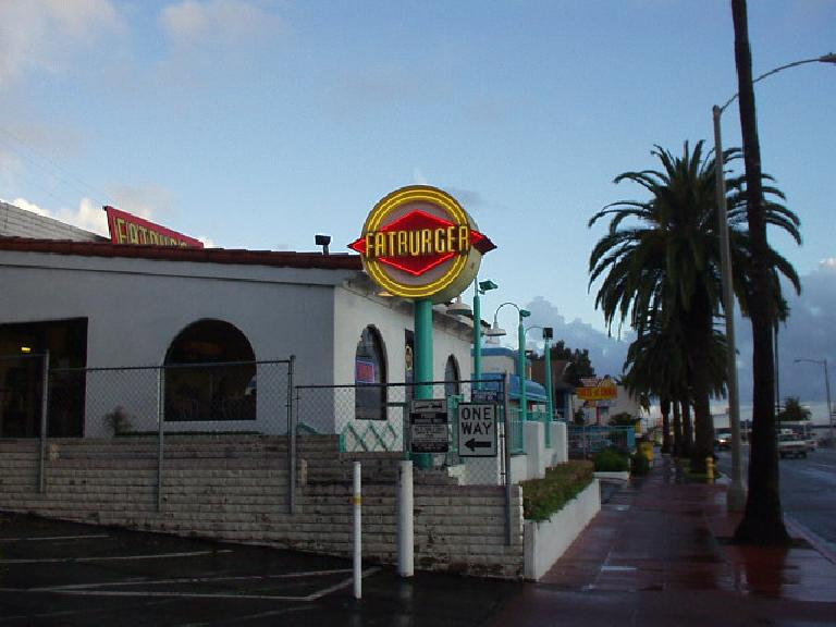 "[Mile 135, 5:11 p.m.] You are what you eat, and truth in advertising: Fatburger!  (Motto: ""The last great hamburger stand"", originally from Louisiana.)  Unfortunately, or maybe fortunately, I did not have time to go inside."