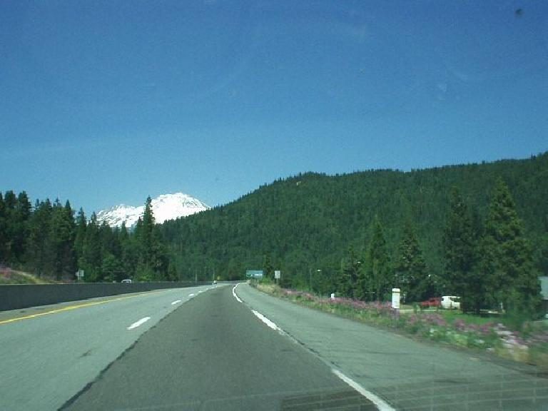 [Near Mt. Shasta City, CA] The scenery became splendid after Redding, with awesome views of Mt. Shasta rising out of nowhere.