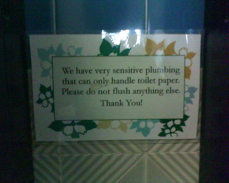 This sign was in the bathroom in Planet Granite Belmont.  It made me think of Central America, but then I remembered that the sewage systems in many Latin American countries cannot handle toilet paper. (June 3, 2011)
