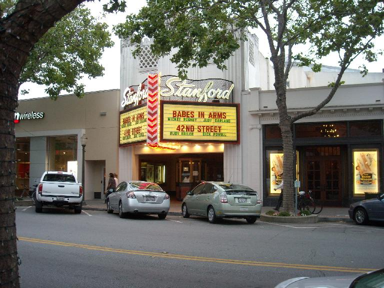 "After rock climbing, Leah and I briefly visited Stanford and downtown Palo Alto.  We had dinner across the street from where ""Babes in Arms"" was showing."