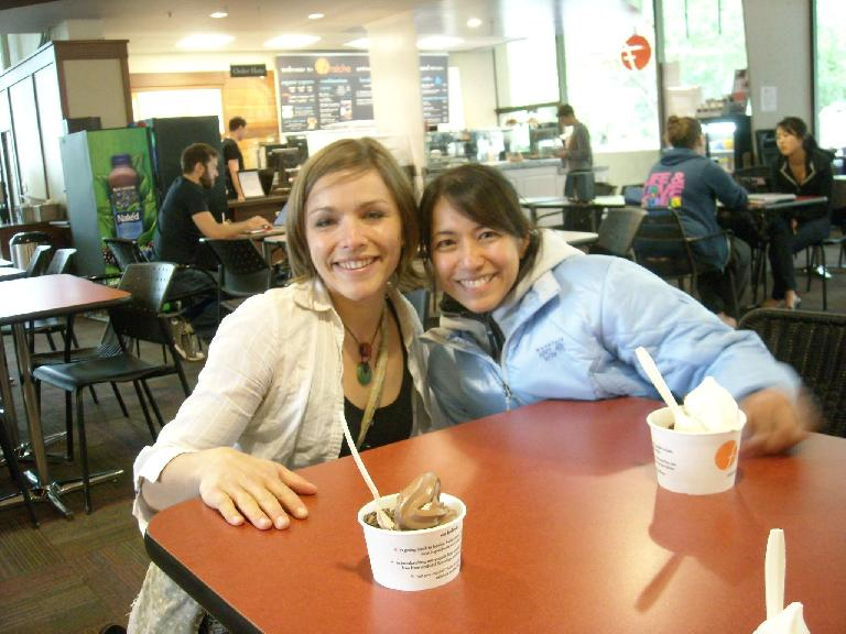 Leah and Alyssa having frozen yogurt at Fraiche on the Stanford campus. (June 3, 2011)