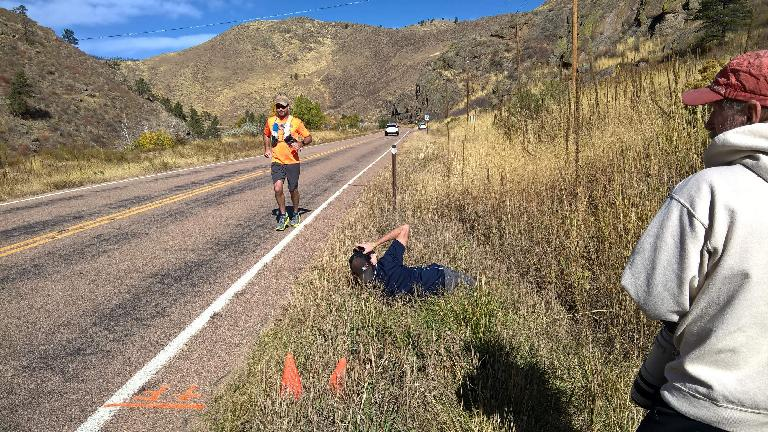 John Schneid finishing second overall in the 2016 Cache La Poudre Marathon.
