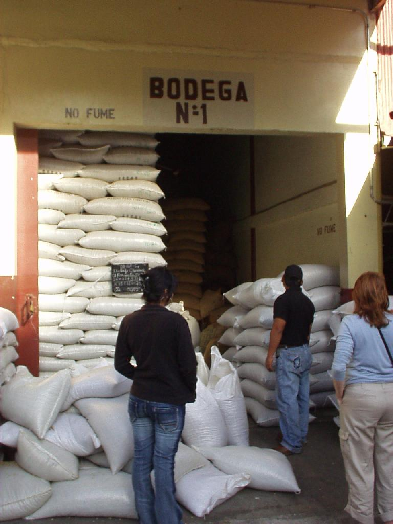 After fermenting, washing, pre-drying and drying, the coffee beans are aged for 4 months in these bags.