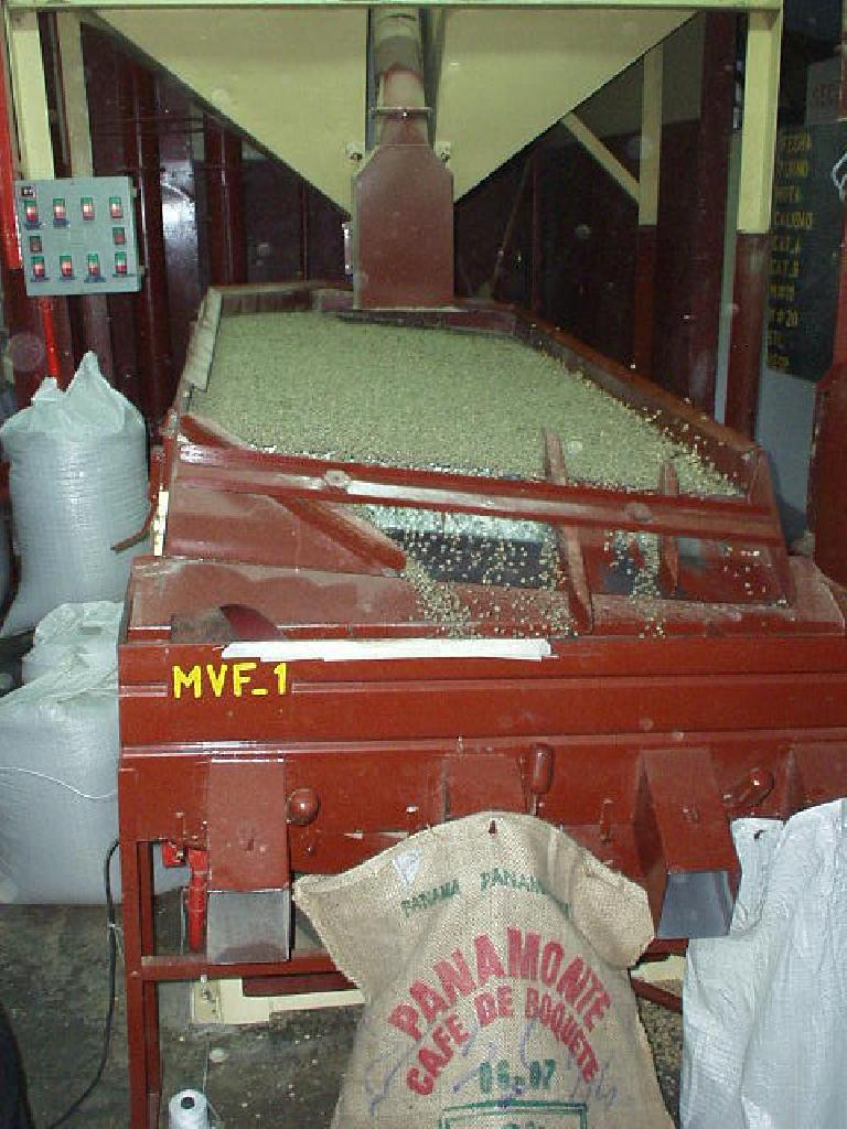 This machine sorts the beans by density and size.