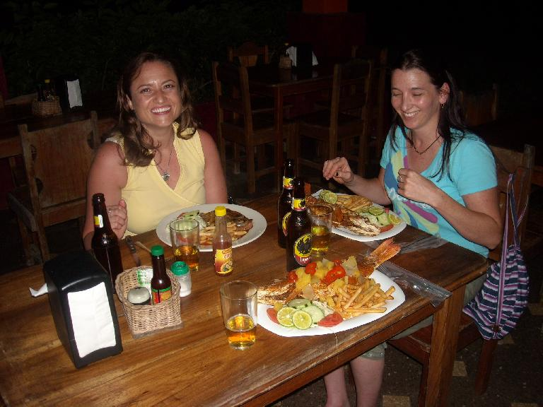 Dinner with Raquel and Tori at the Kelly Creek Restaurant in Cahuita, Costa Rica. (March 20, 2011)
