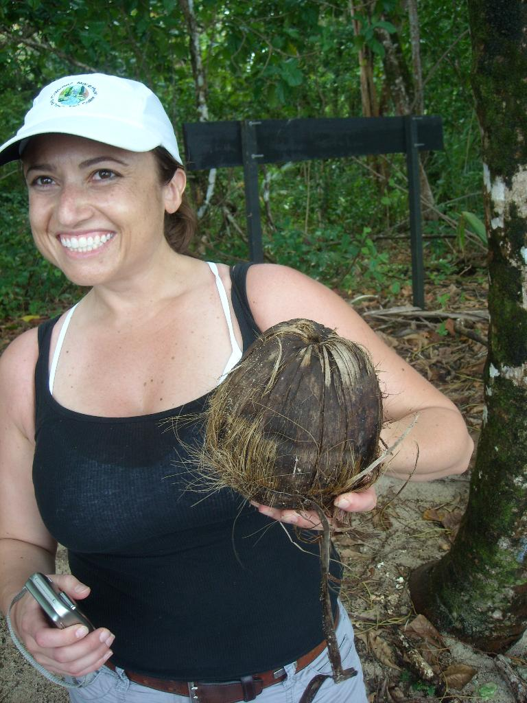 Raquel with a coconut.