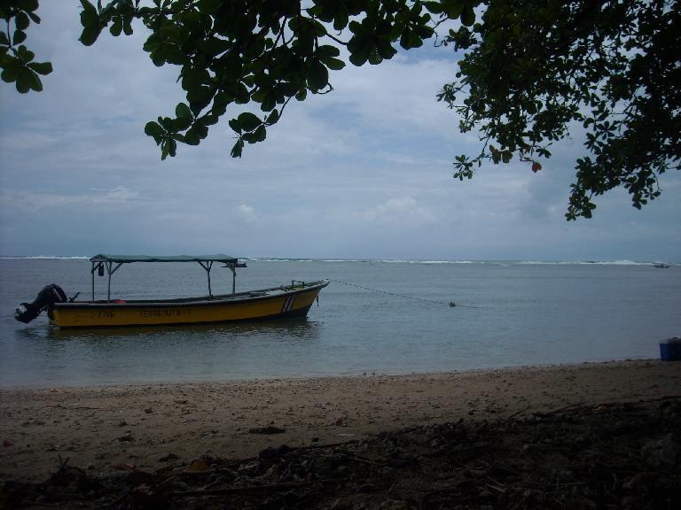 A boat dubbed Terremoto at Punta Cahuita.