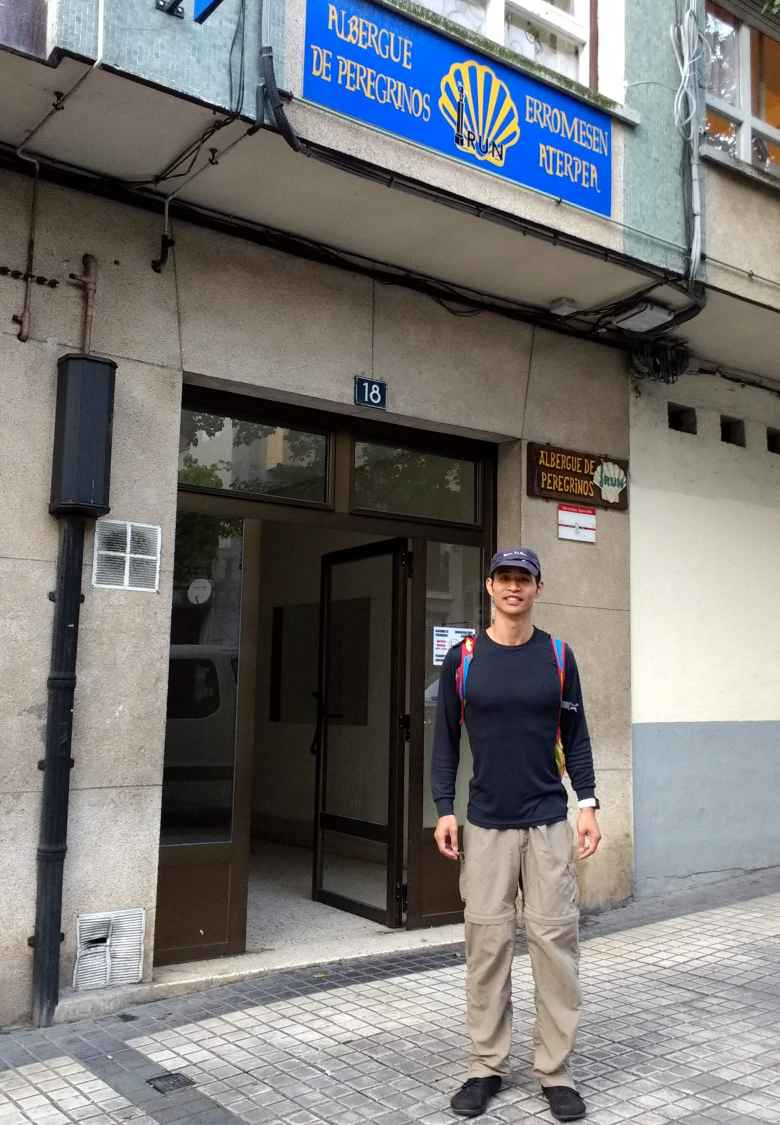 Felix Wong starting the Camino de Santiago outside an albergue in Irún, Spain.