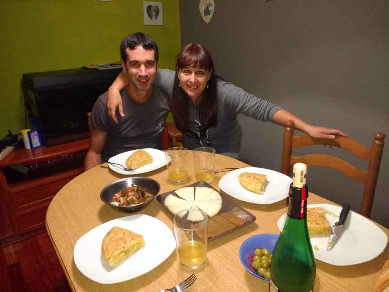 The night before starting the Camino de Santiago, my friend Antxon picked me up from the San Sebastian Airport. Vicky made us a wonderful dinner including Spanish omelette.