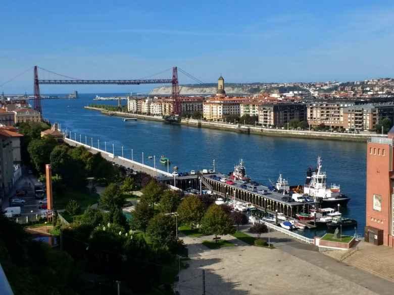 A lift bridge in Portugalete, Spain.